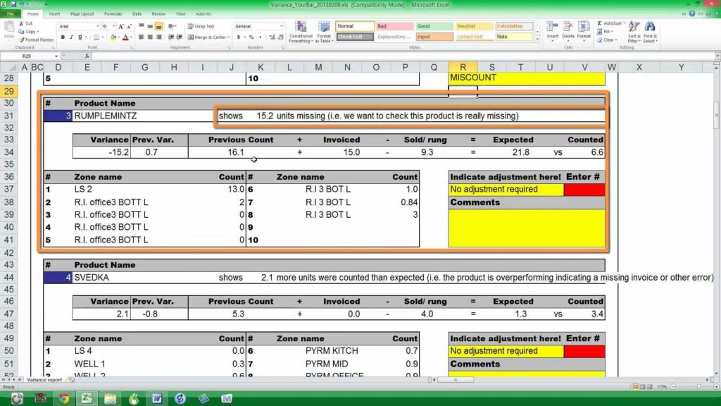 Liquor Inventory Spreadsheet and Bar I Using the Variance Report Youtube