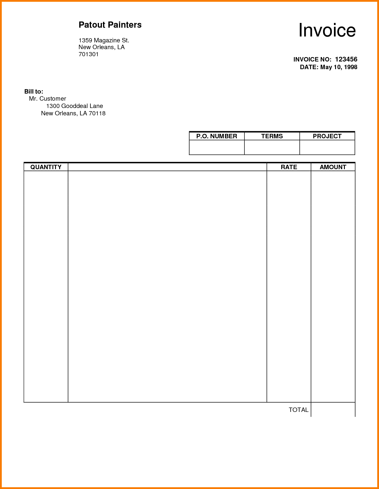 Manual Invoice Template and 5 Blank Invoice Template Pdf Receipt Templates