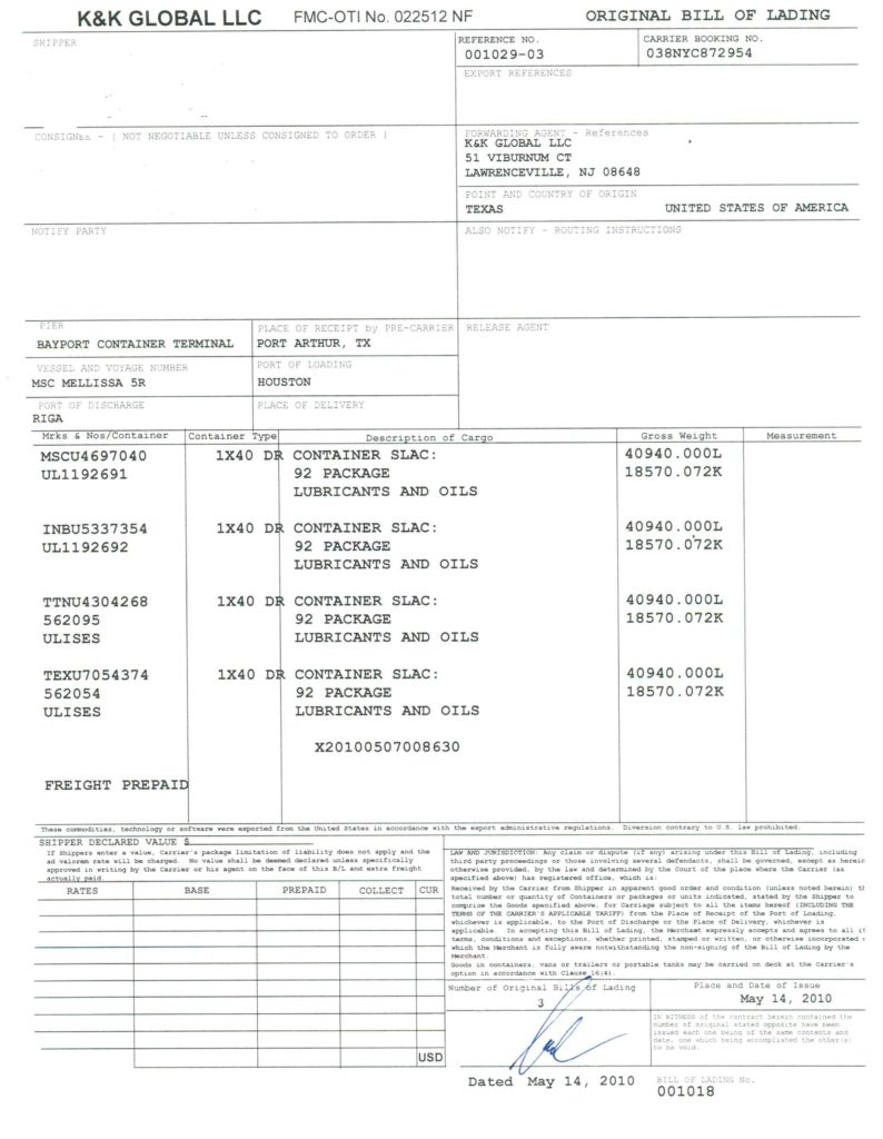 Master Bill Of Lading Template and Bill Of Lading