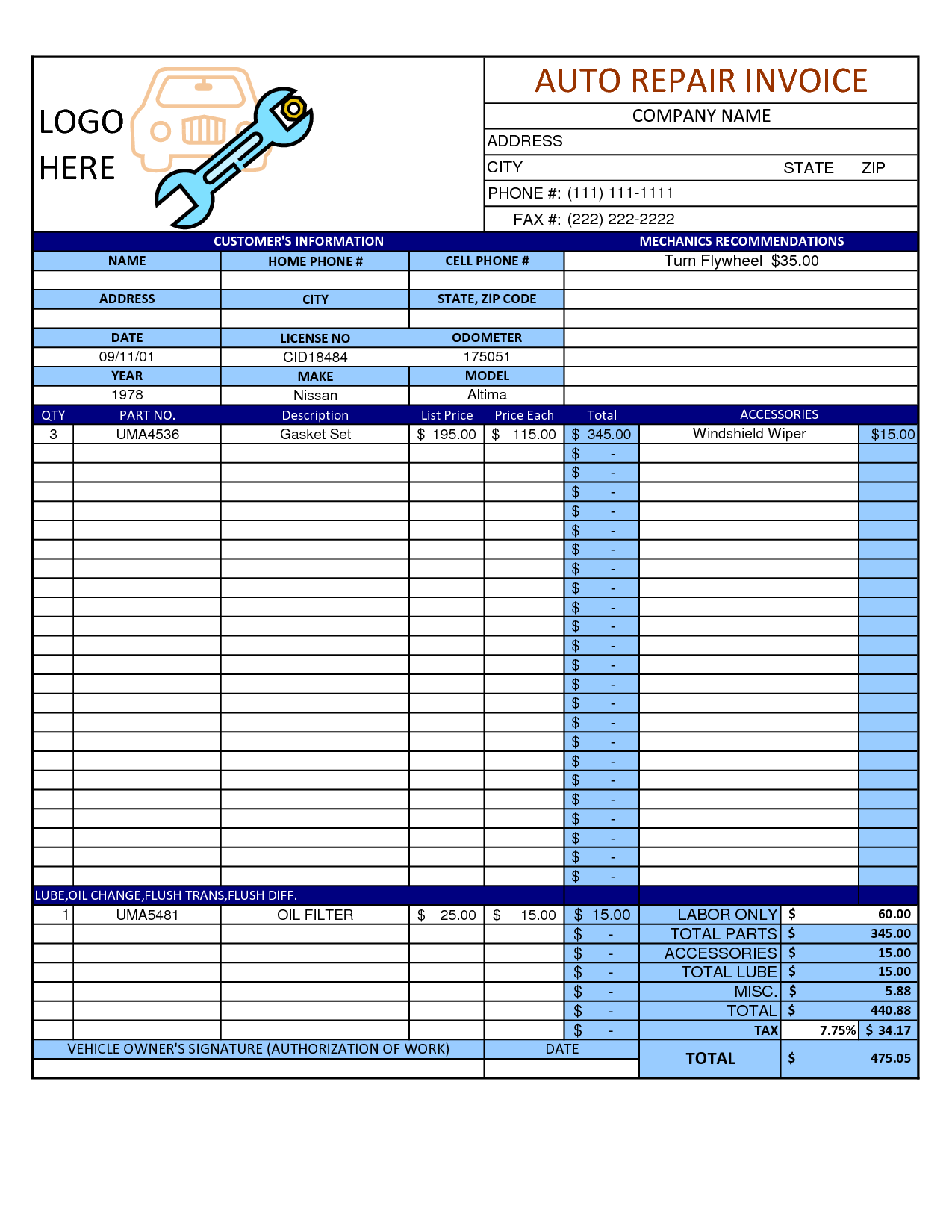 Mechanic Shop Invoice Templates and Auto Repair Invoice Template Word Invoice Example