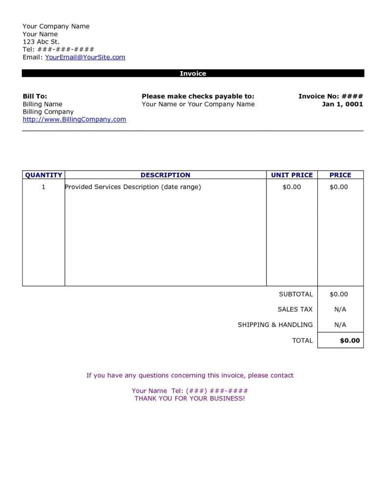 Medical Bill Template Pdf and Word Document Invoice Template Blank Invoice Doc 2016 Mahtaweb