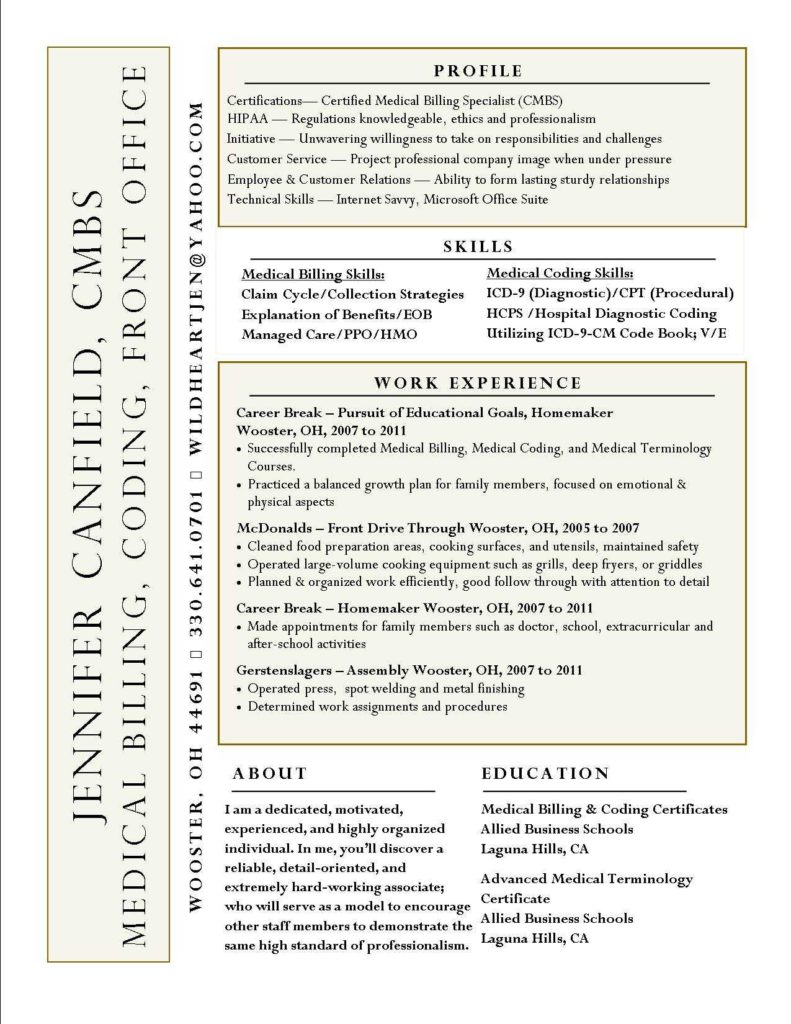 Medical Billing and Coding Job Description Sample and Interesting Resume Idea Not Sure I Like the Name On the Side