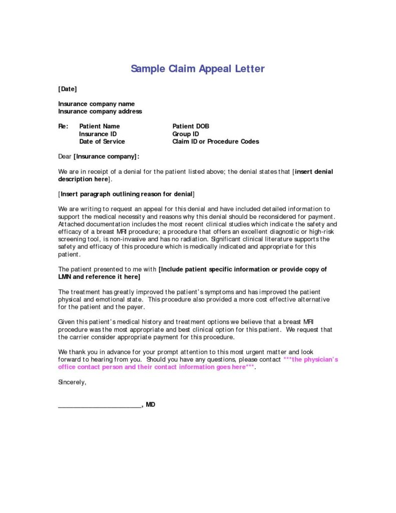 Medical Billing forms Templates and Sample Customer Service Resume Medical Claims Appeal Letters with