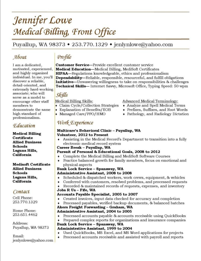 Medical Billing Modifiers Examples and Jennifer Lowe Resume Medical Billing Resume Career Medical
