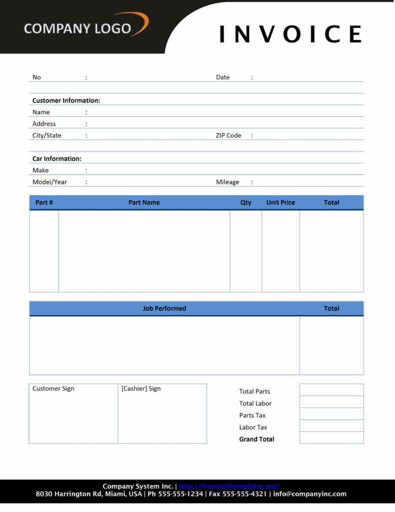 Microsoft Word Bill Of Sale Template and Auto Repair Invoice Freewordtemplates