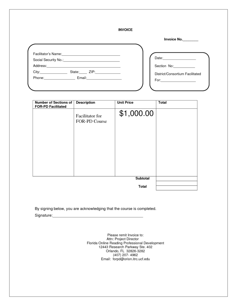 Mock Invoice Template and 1099 Invoice Template Free Printable Invoice