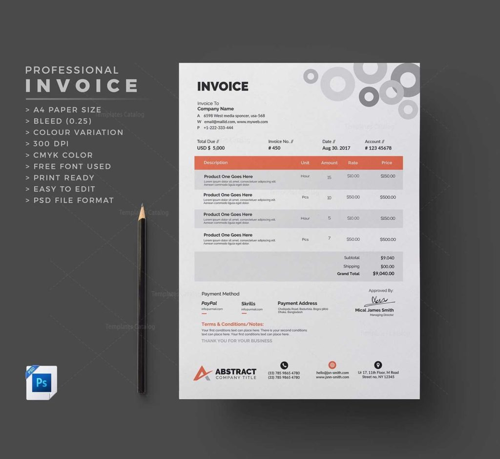 Mock Invoice Template and Clean Invoice Template Template Catalog
