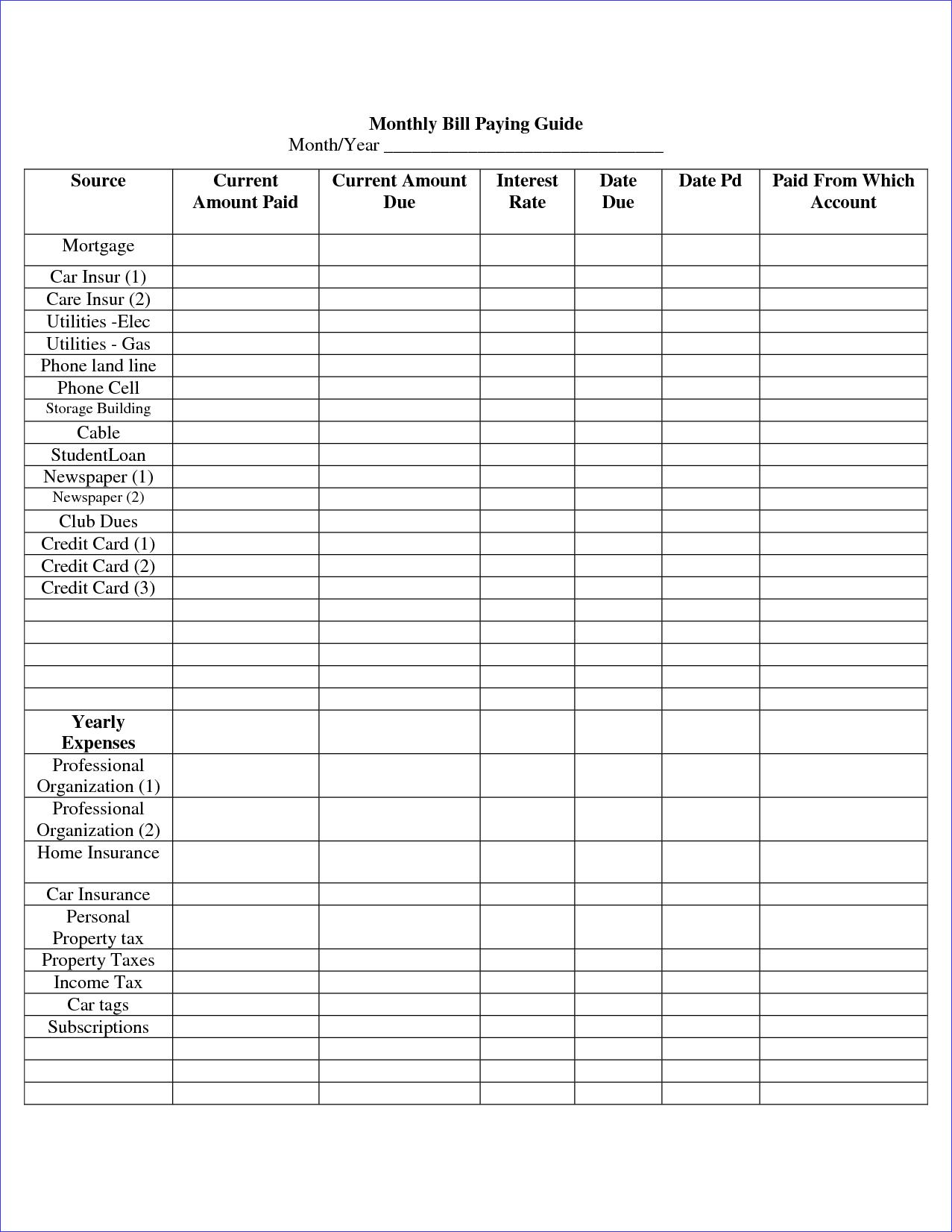 Monthly Bill organizer Template and 7 Bill organizer Template Weeklyplanner