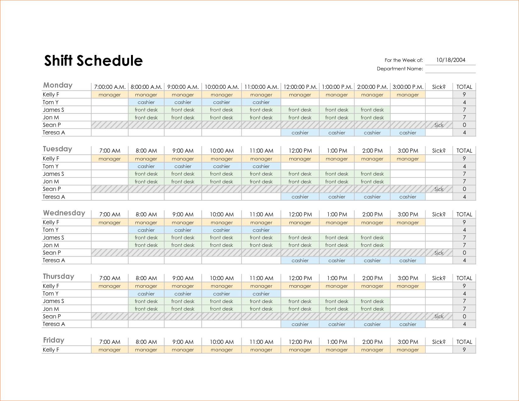 Monthly Employee Work Schedule Template Excel and 4 Monthly Schedule Template Excel Procedure Template Sample