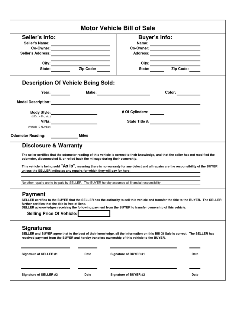Motor Vehicle Bill Of Sale Template and Printable Car Bill Of Sale Pdf Bill Of Sale for Motor Vehicle