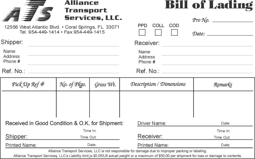 Ms Word Bill Of Sale Template and Bill Of Lading Template Example Masir