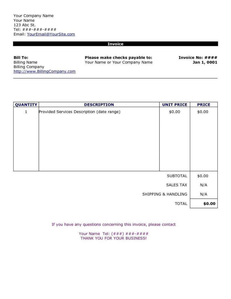 Ms Word Bill Of Sale Template and Simple Invoice Template Free to Do List