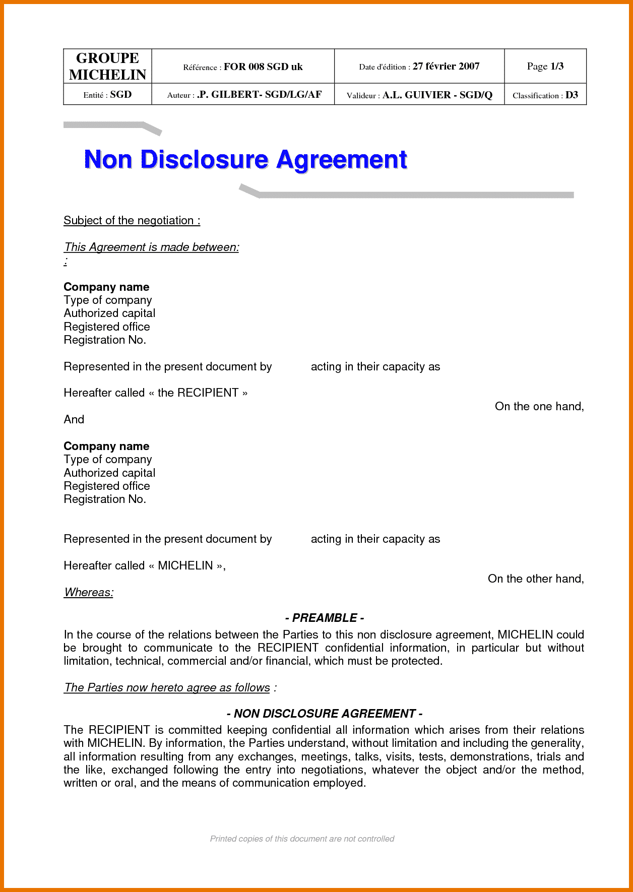 Non Disclosure Statement Sample and 7 Non Disclosure Agreement Free Itinerary Template Sample