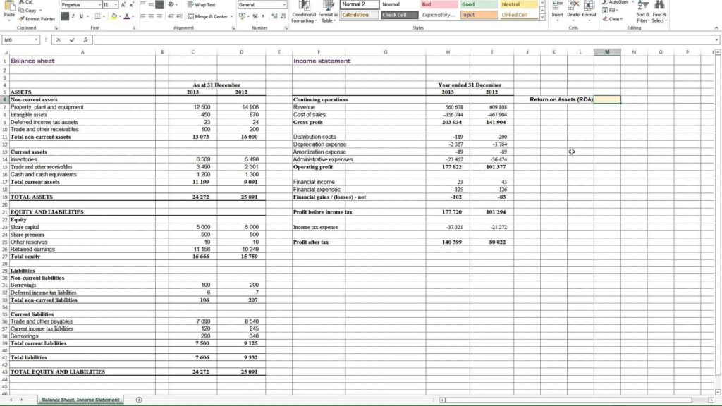 Non Profit Balance Sheet Template Excel and Calculating Return On assets Roa In Excel Youtube