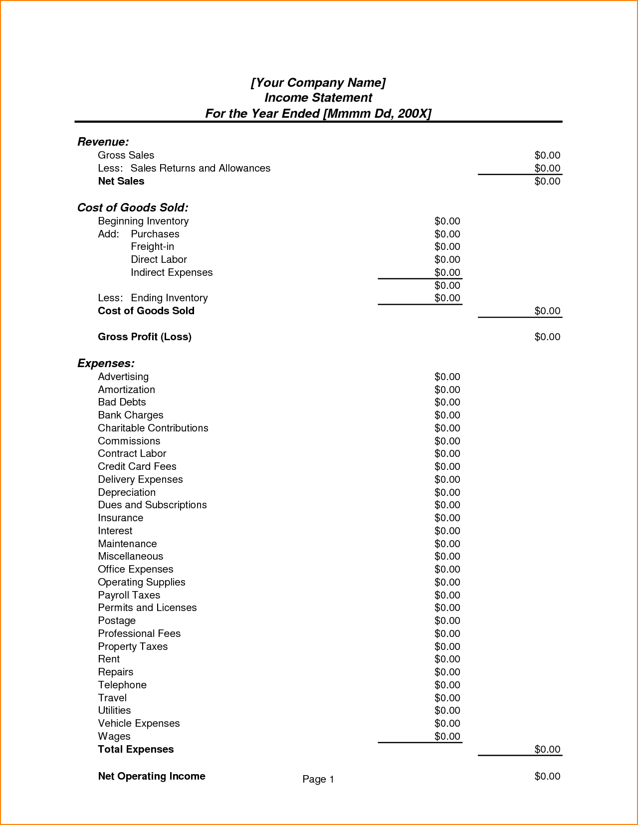 Non Profit Financial Statement Template and 13 In E Statement format Bibliography format