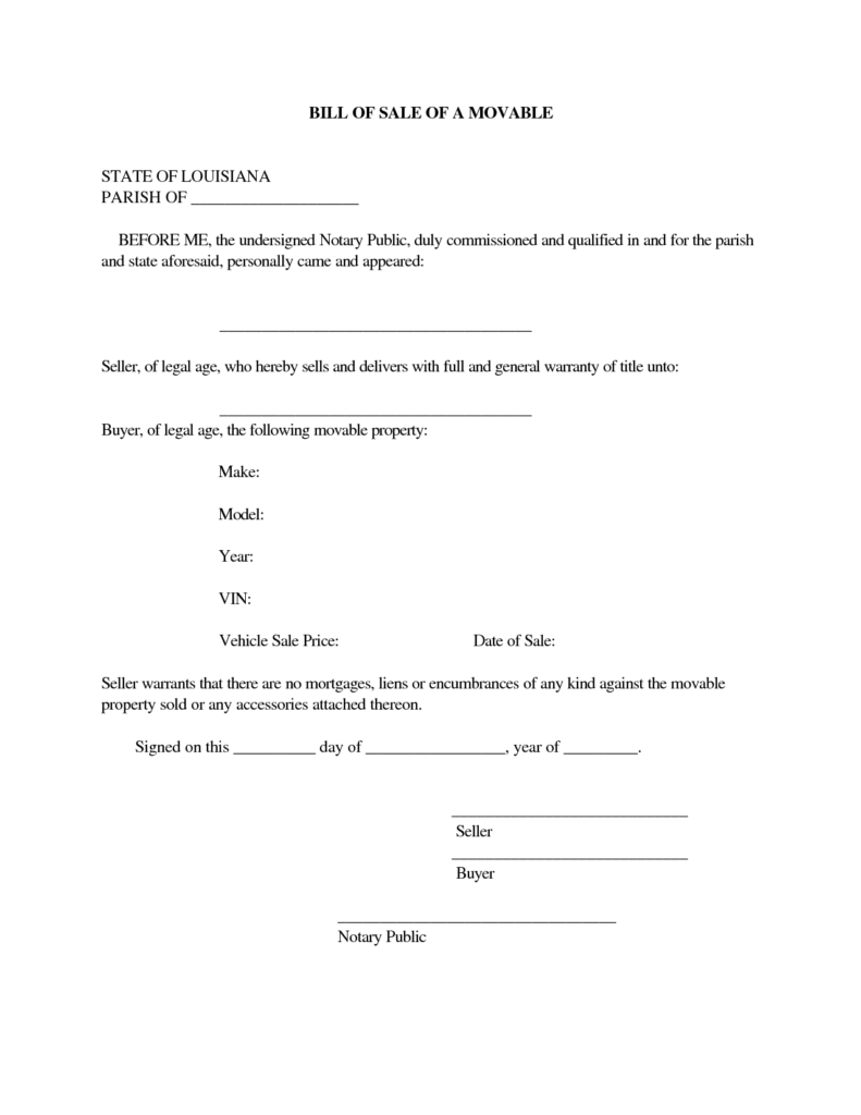 Notarized Bill Of Sale Template and Do I Need A Bill Of Sale Notary Baton Rouge
