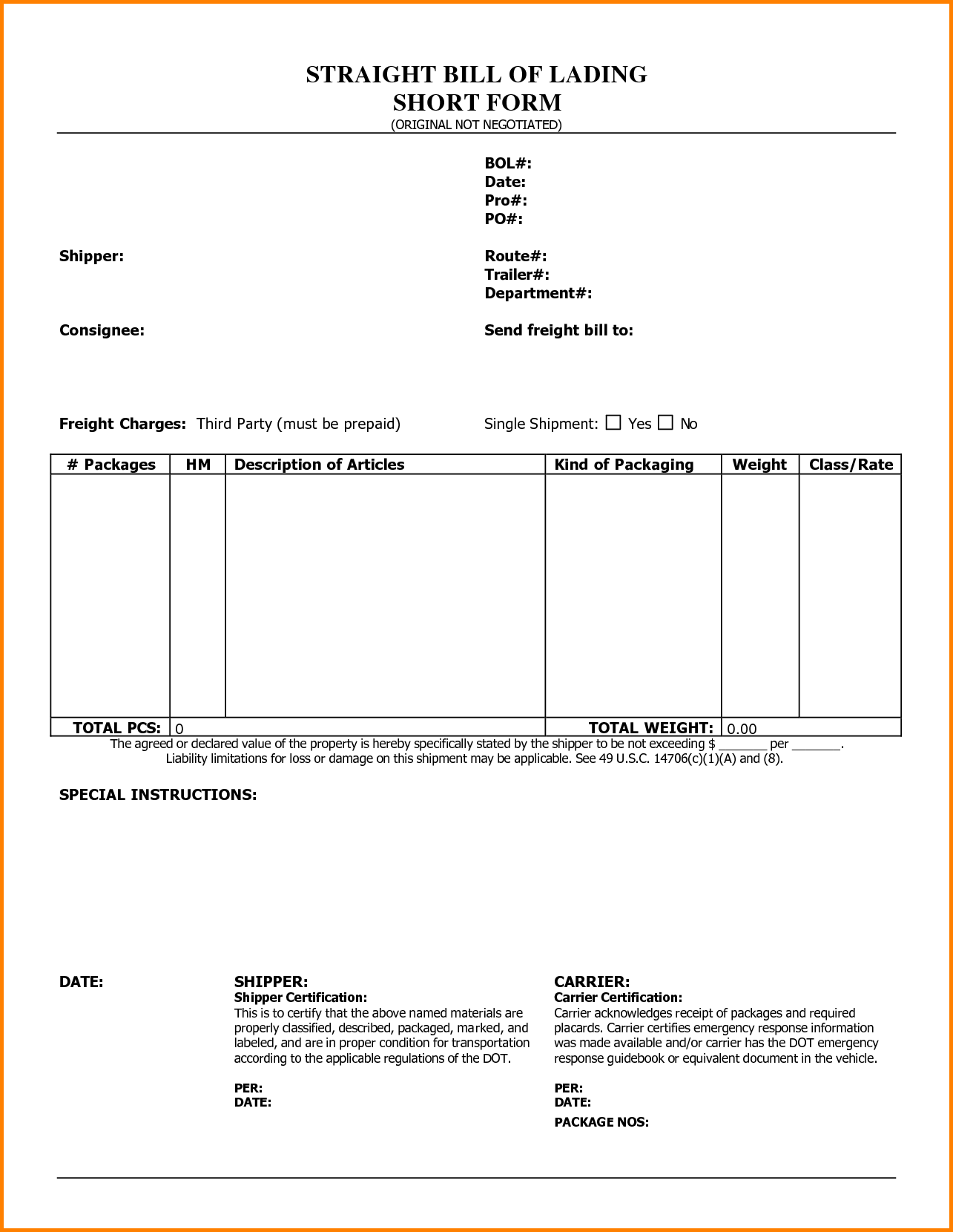 Ocean Bill Of Lading Template and Straight Bill Of Lading Short form Bill Of Lading Short form