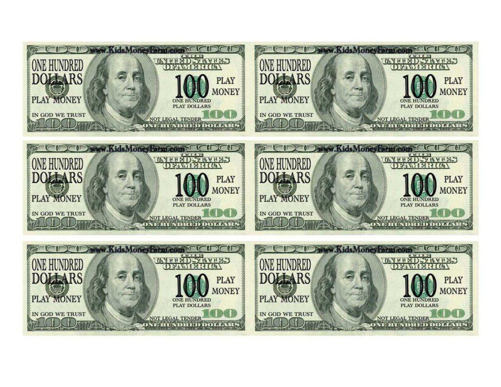 One Hundred Dollar Bill Template and 100 Bill Template Virtren