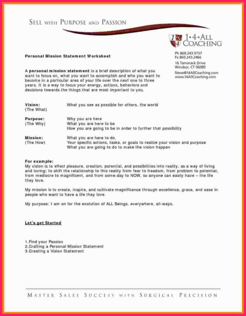 Outreach Mission Statement Examples and Personal Vision Statement Template Virtren