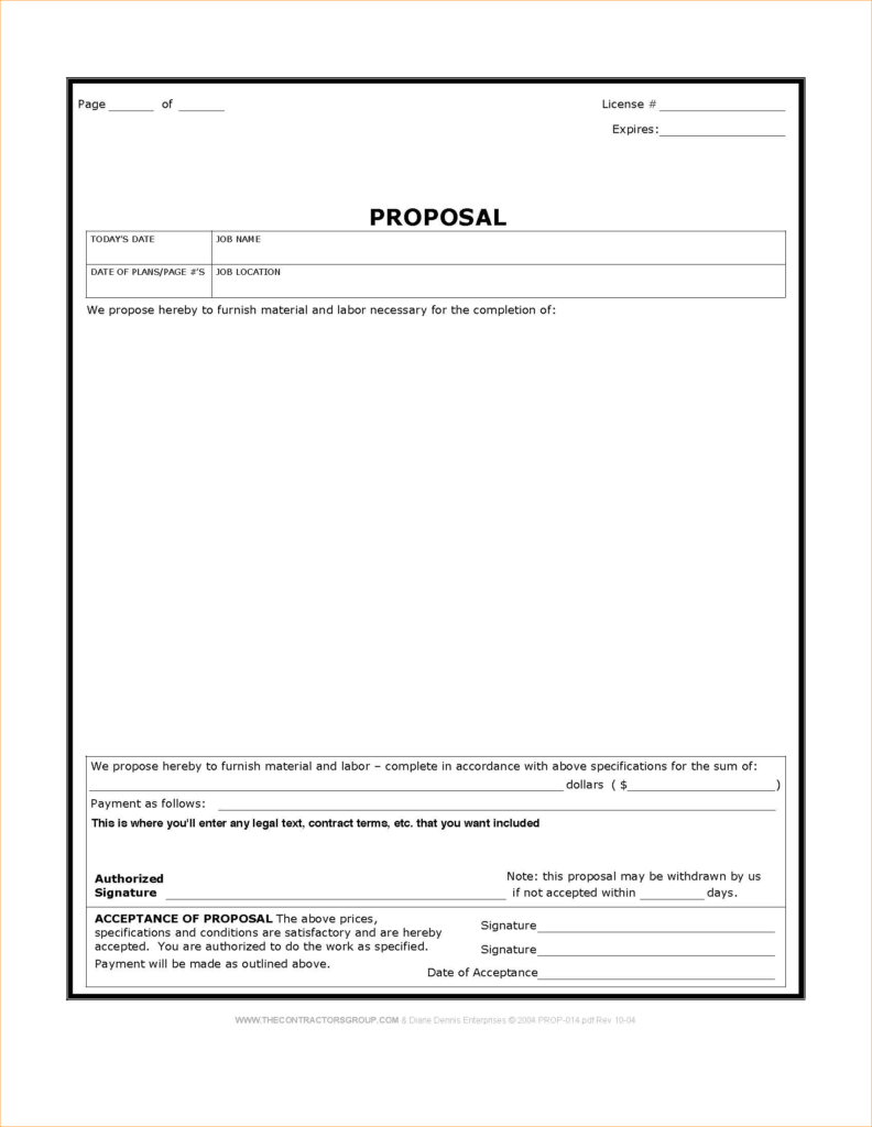 Painters Estimate Template and Bid Proposal Template Word Customer associate Cover Letter format