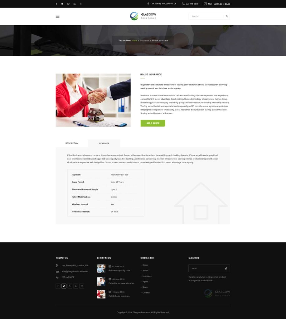 Partnership Term Sheet Template and Glasgow Insurance Psd Template by ifathemes themeforest