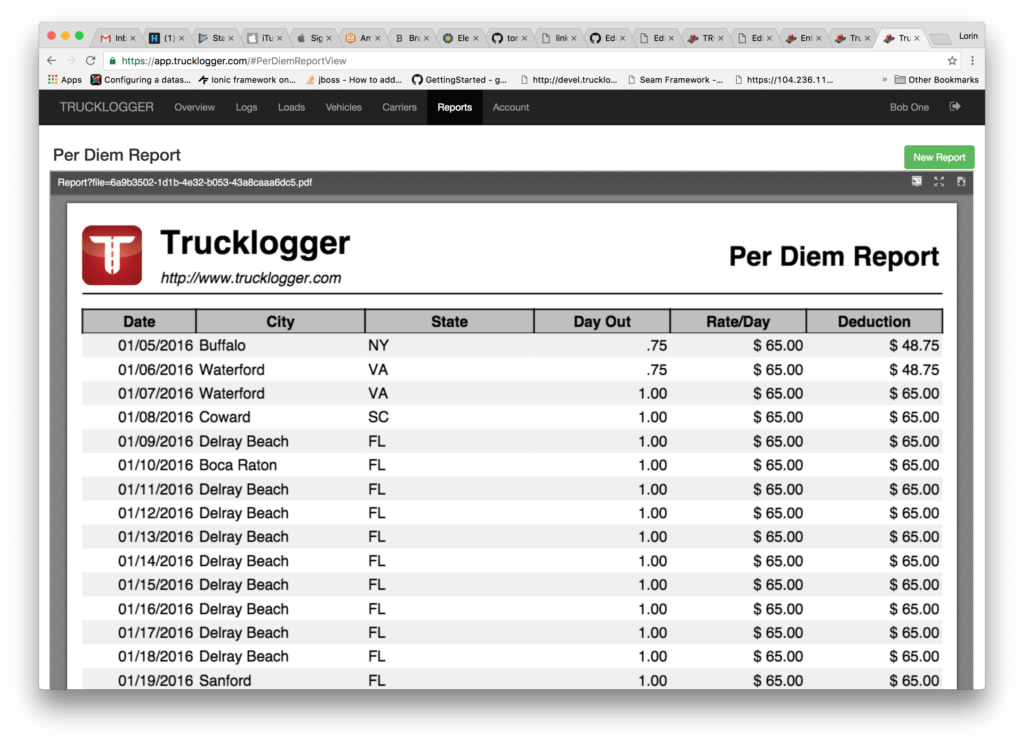 Per Diem Expense Report Template and Small Carrier Trucklogger