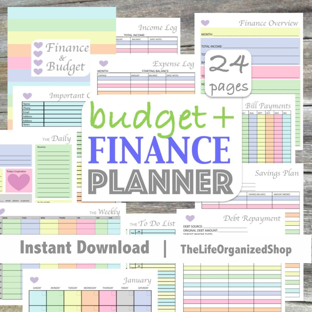 Personal Financial Planning Worksheets and Bud Planner Finance Planner Finance Binder Bud