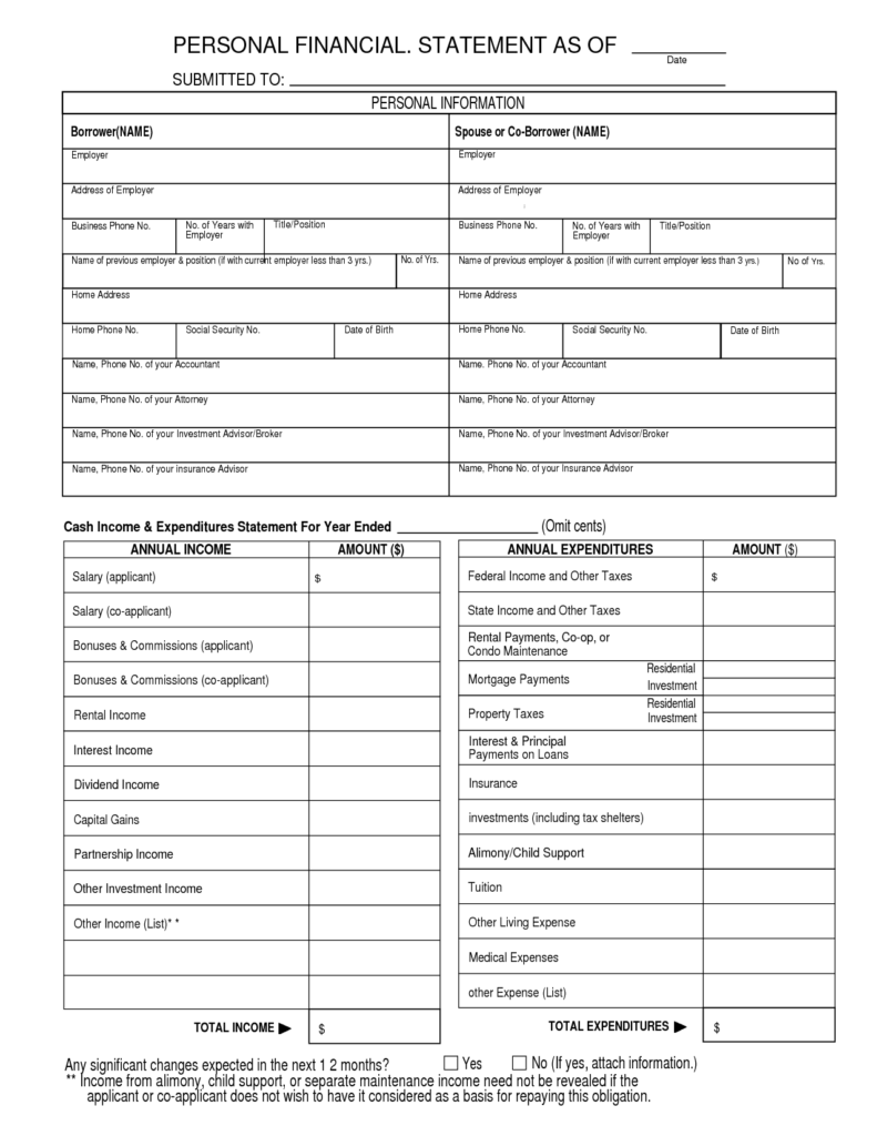 Personal Financial Statement Template Free and Financial Statement Template Vnzgames
