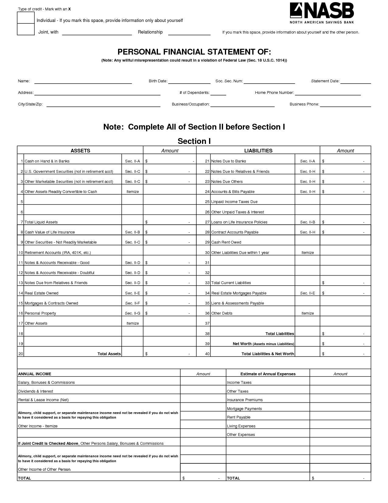 Personal Financial Statement Template Free and Free Printable Personal Financial Statement Excel Blank Personal