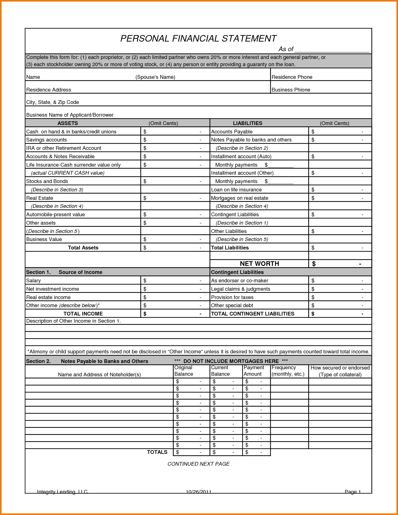 Personal Financial Statements Templates and 7 Personal Financial Statement Template Financial Statement form
