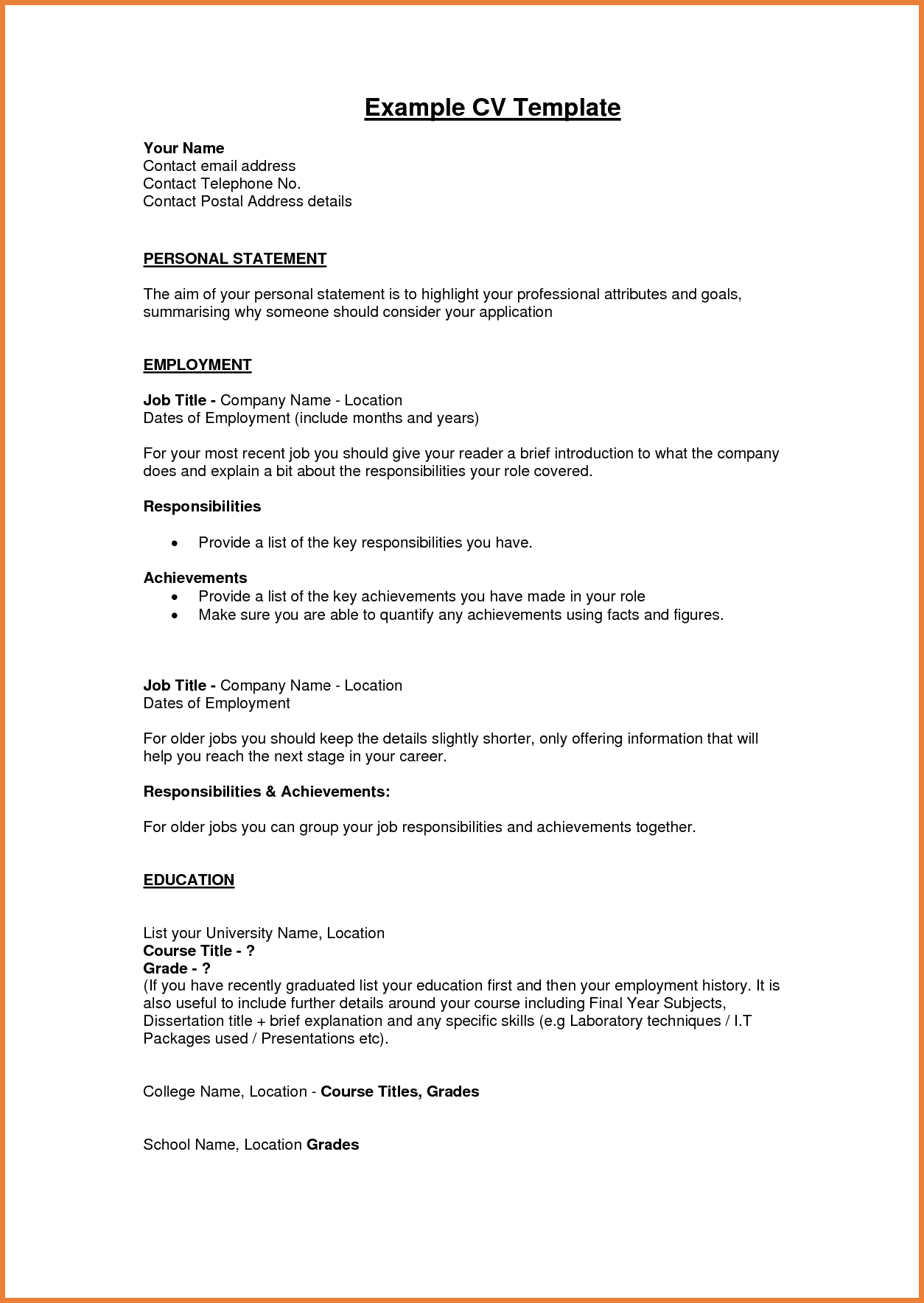 Personal Statement for Human Resource Management Sample and Example Of Personal Statement for Resume Resume for Your Job