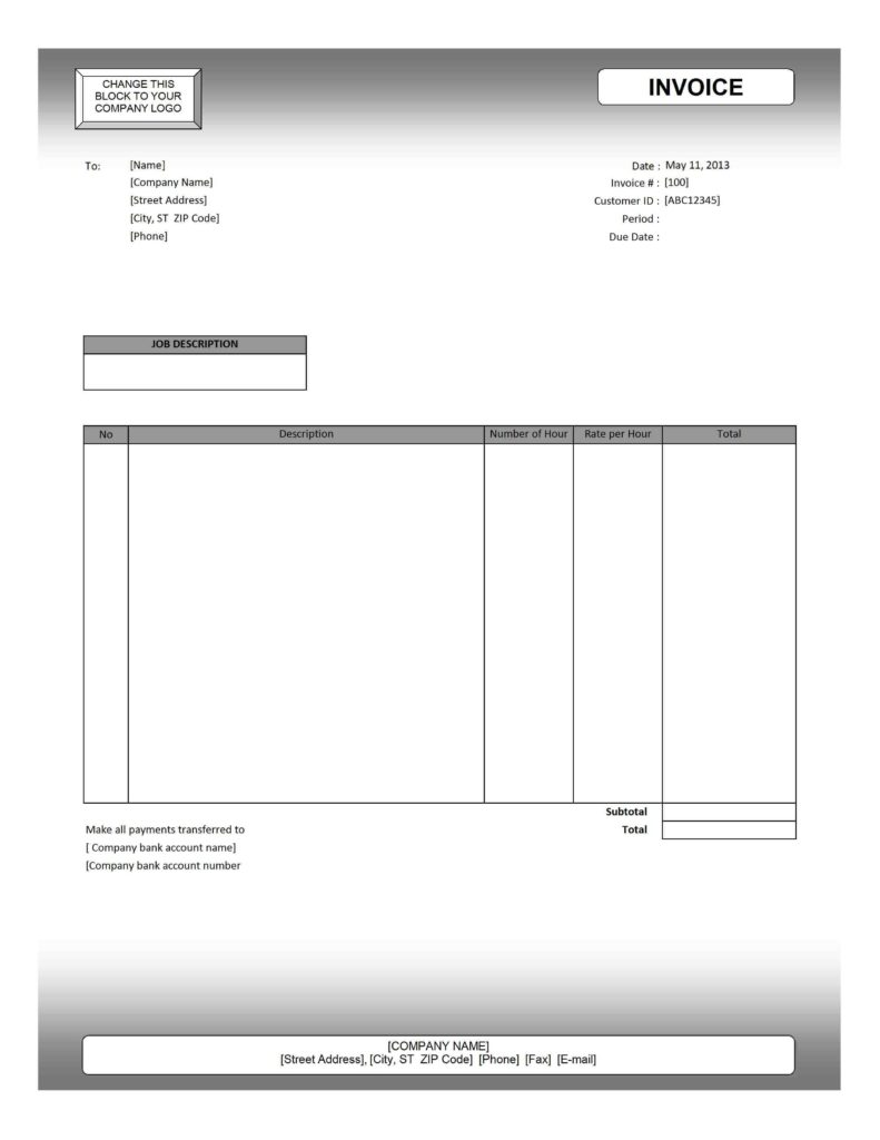 Plain Invoice Template and Blank Invoices to Print Method Of Best Photos Printable Service