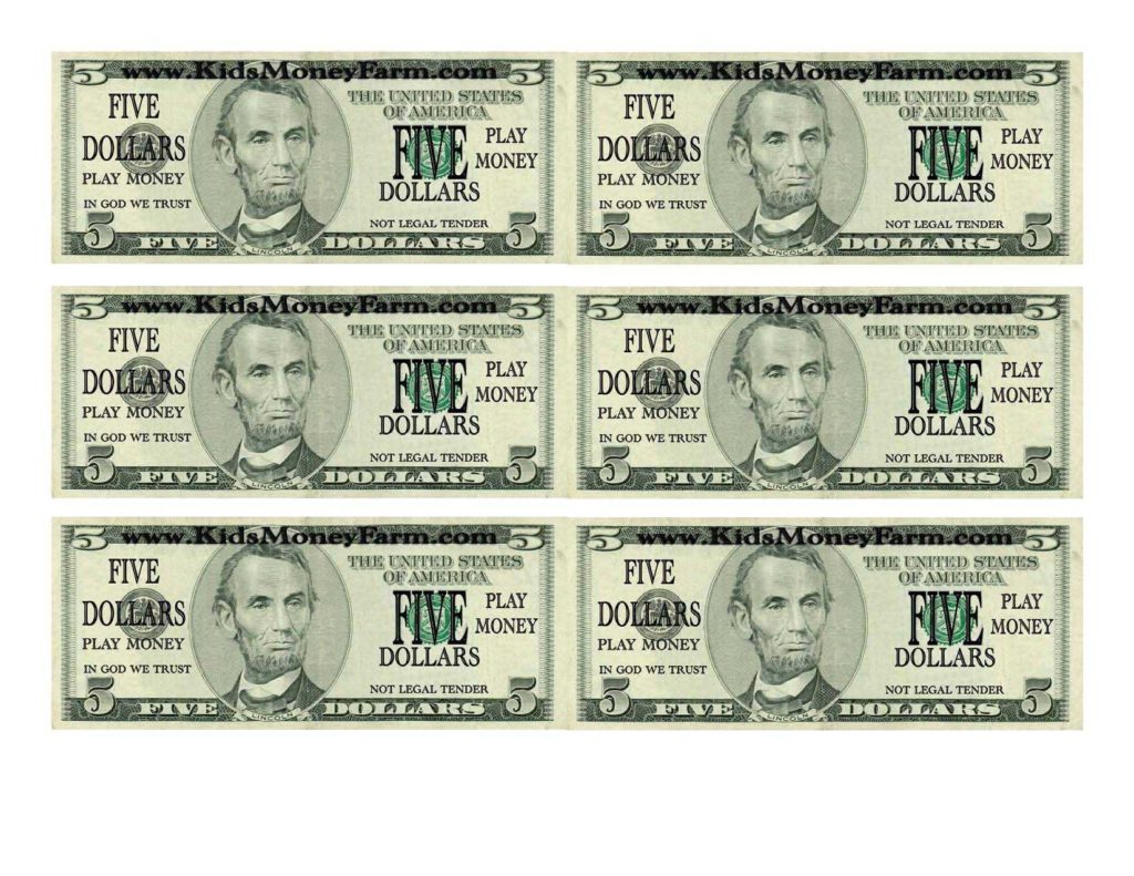 Play Dollar Bill Template and Template for Fake Money Sample Customer Service Resume