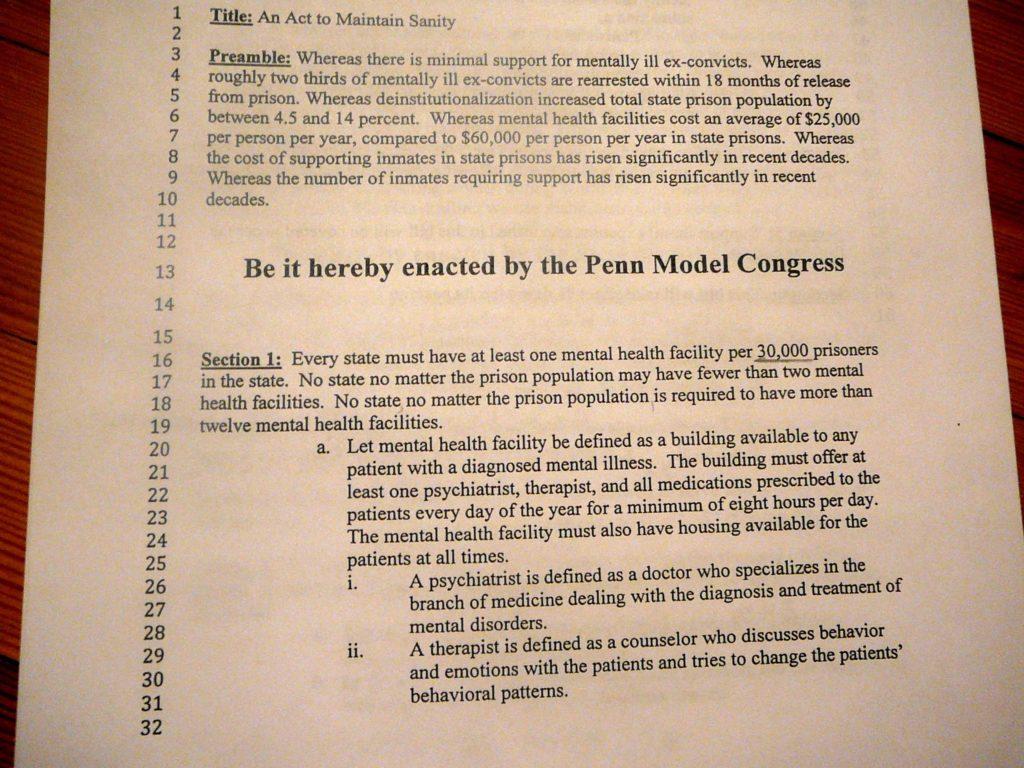 Princeton Bill Template and Model Congress Eleanor Called Ella