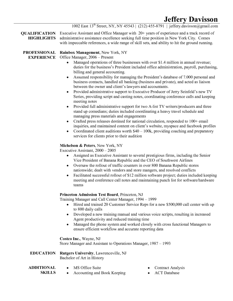 Princeton Bill Template and Resume Template Office Resume for Your Job Application