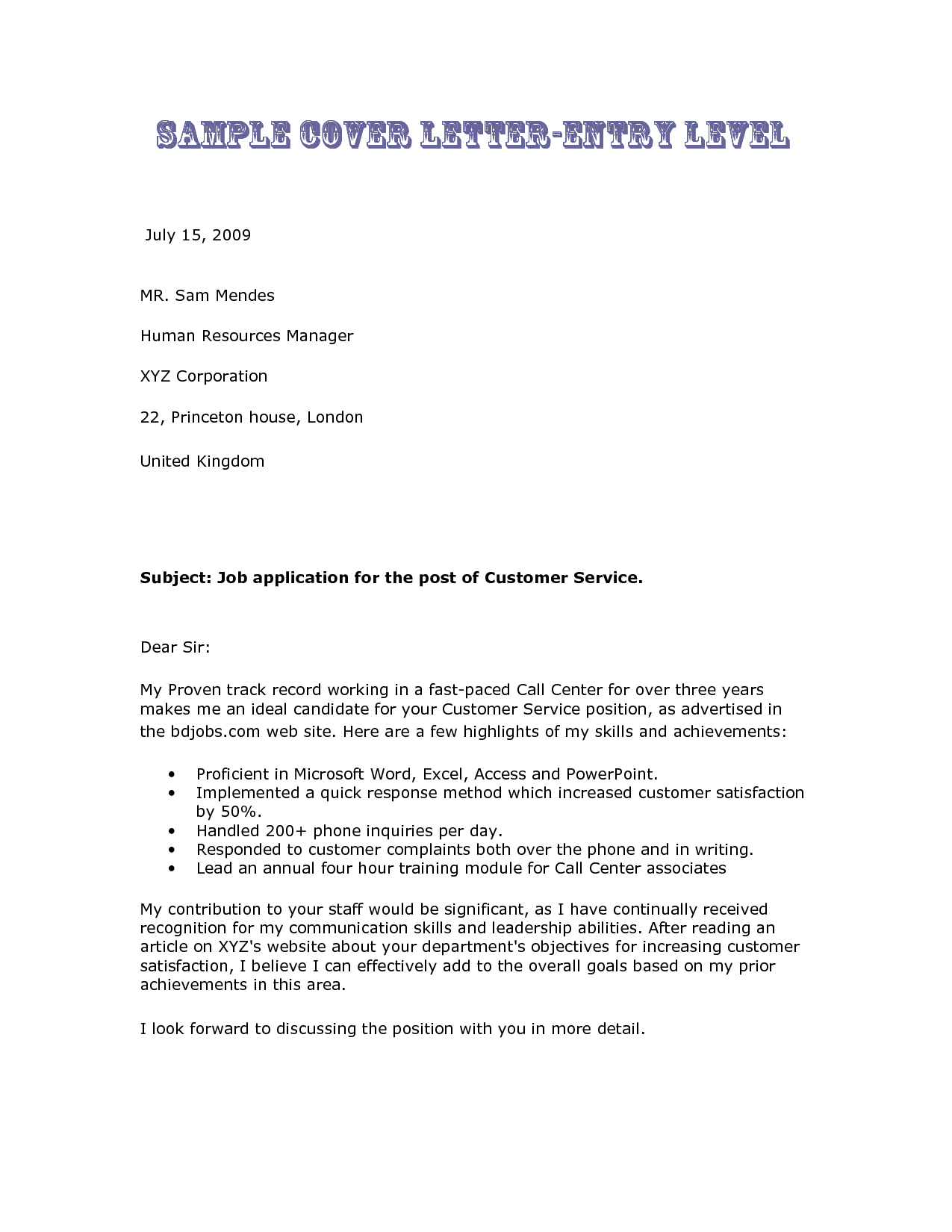 Princeton Bill Template and Sample Cover Letter for Food Service Resume Sample
