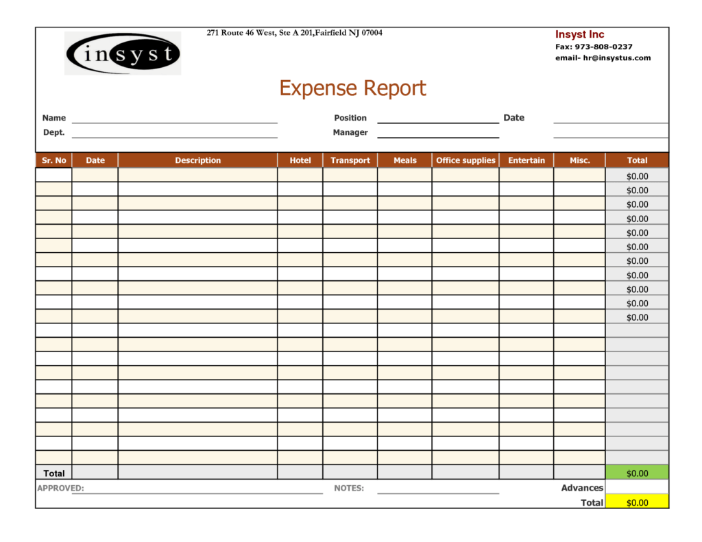 Printable Expense Report Template and Basic Expense Report Template Helloalive