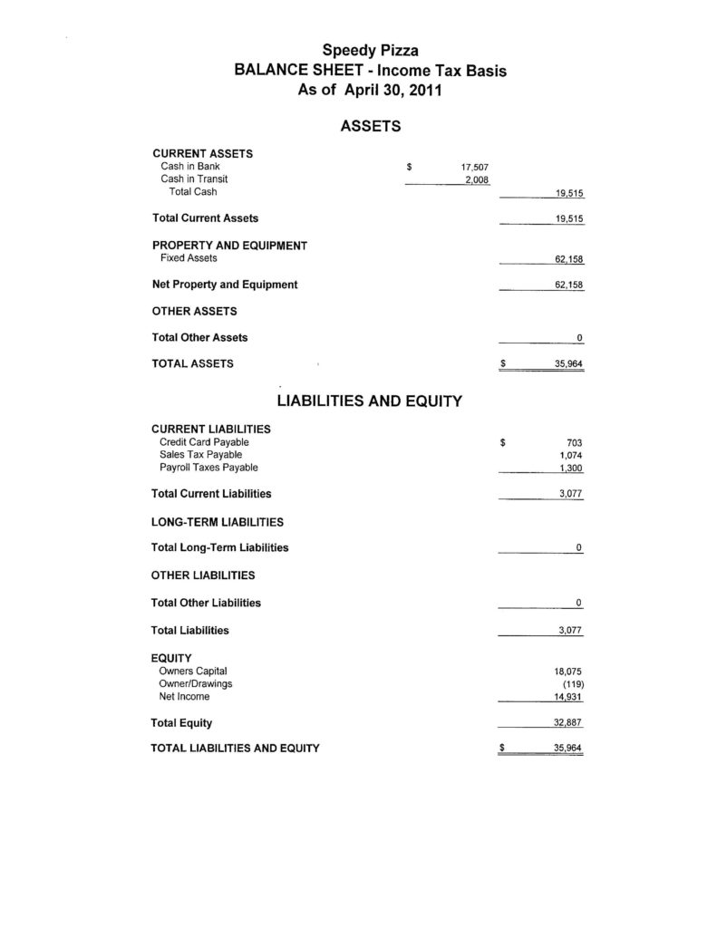 Profit and Loss Statement and Balance Sheet Template and Small Business Profit and Loss Statement Template Customizable