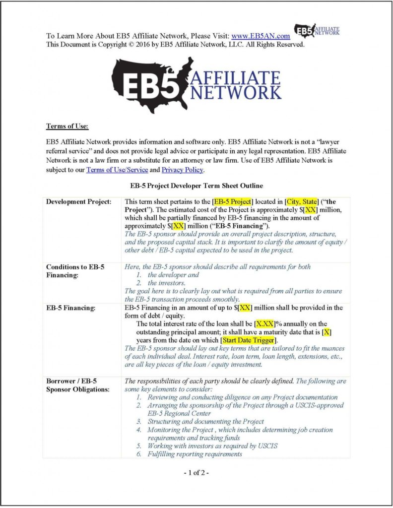 Project Finance Term Sheet Example and Sample Eb 5 Project Developer Term Sheet