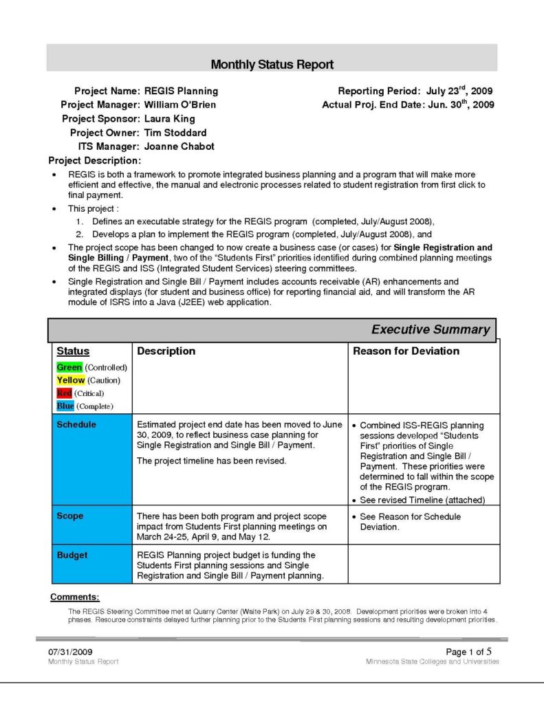 Project Management Report Templates and Stunning Monthly Project Status Report Template Images Guide to