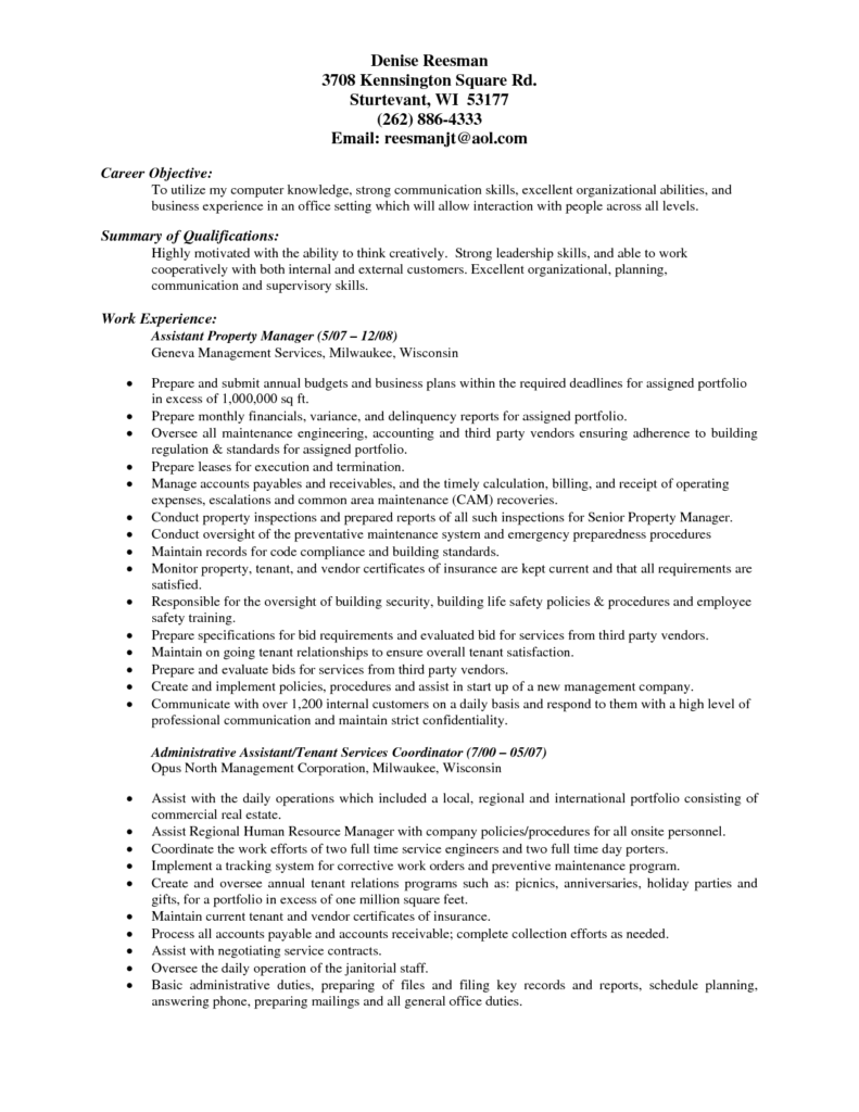 Property Management Mission Statement Examples and Property Management Resume Resume for Your Job Application