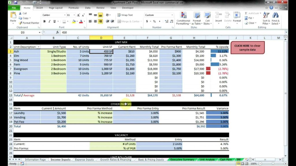 Real Estate Investment Analysis Spreadsheet and Mercial Real Estate Cash Flow Models by Resheets Youtube