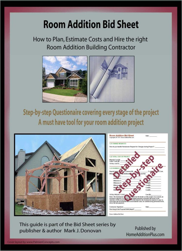 Remodeling Estimate Template and Room Addition Bid Sheet Room Addition Plan Room Addition Cost