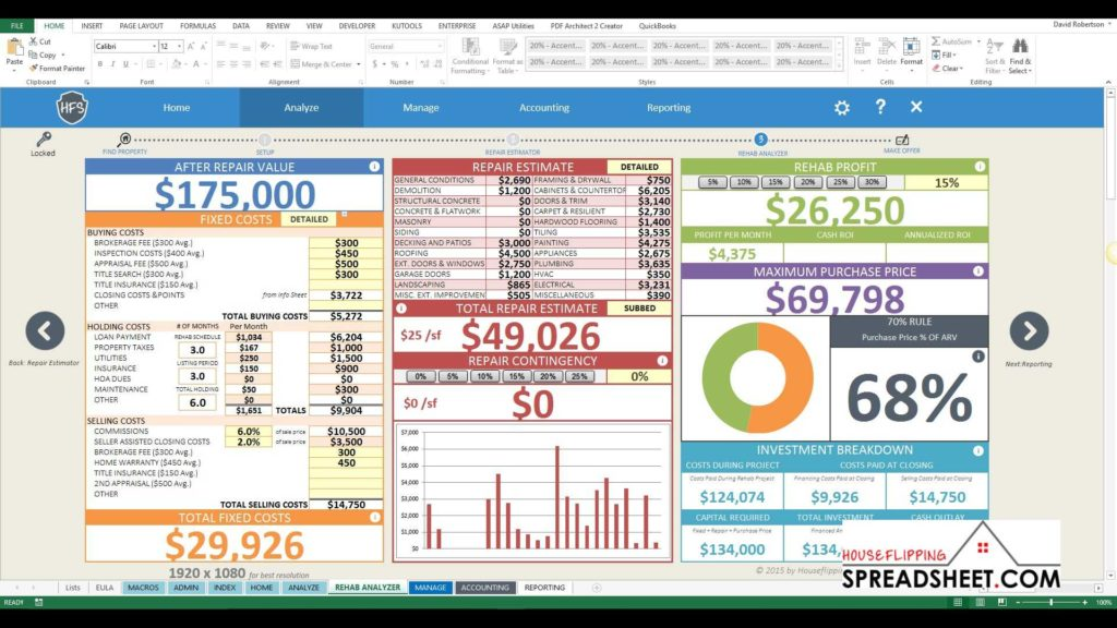 Rental Property Investment Spreadsheet and House Flipping Spreadsheet 4z New Rehab Analyzer Features Youtube