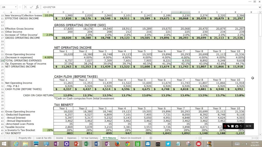 Rental Property Investment Spreadsheet and Rental In E Property Analysis for Excel Youtube