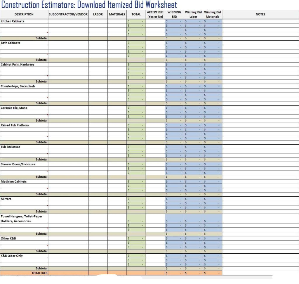 Residential Construction Estimate Template and Itemized Construction Bid Worksheet Template