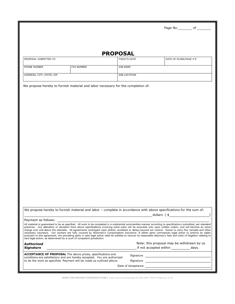 Residential Construction Estimate Template and Printable Blank Bid Proposal forms Construction Proposal Bid