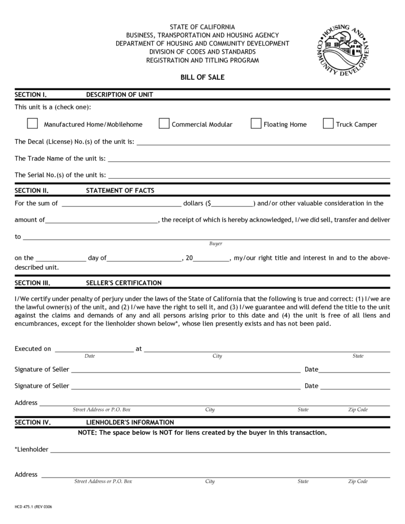 Rv Bill Of Sale Template and Printable Sample Bill Of Sale Camper form Legal forms Online