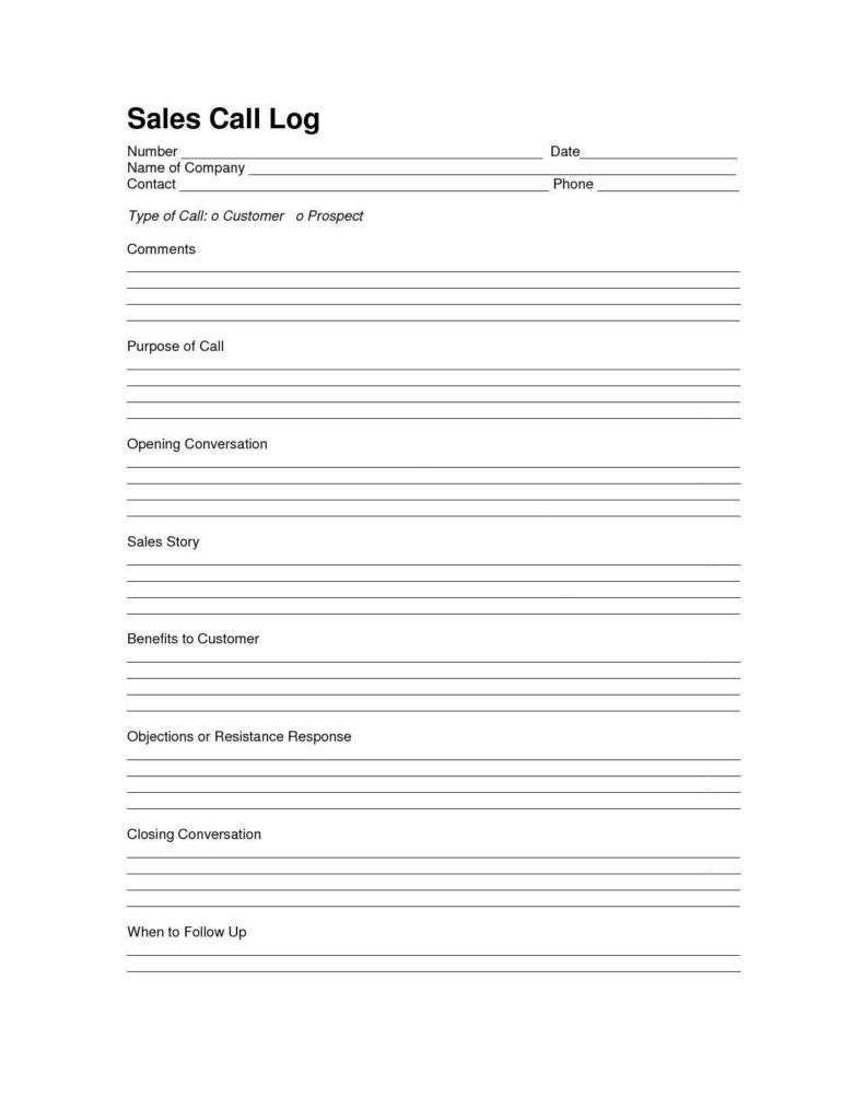 Sales Call Report Template Excel and Sales Log Sheet Template Sales Call Log Template Call Log