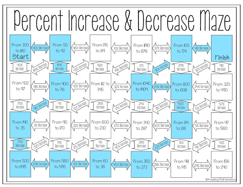 Sales Commission Worksheet and Percent Increase and Decrease Maze Percents Maze and Worksheets